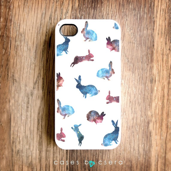 CUTE iPhone 4 Case Galaxy Print Rabbits  iPhone 5 by casesbycsera, $17.99