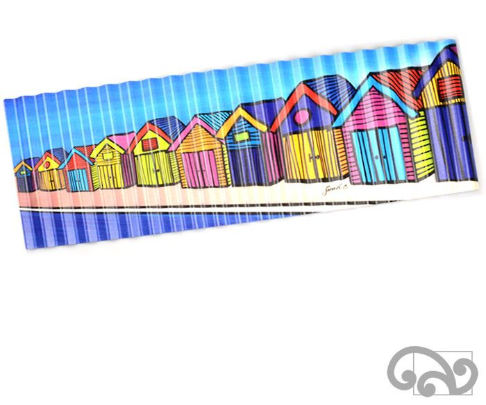 "Corrugated iron art print. ""The Boat Sheds"""
