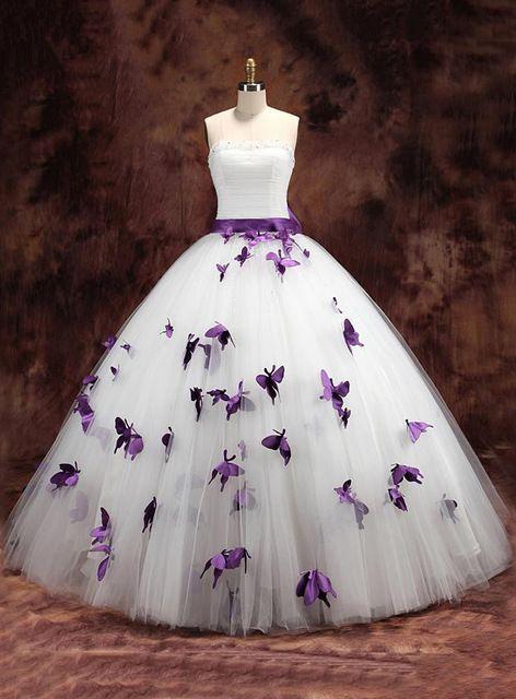 Paars Wit Twee Tonen Baljurk Kleurrijke Trouwjurken Strapless Non traditionele Vlinder Bruidsjurken vestido de novia