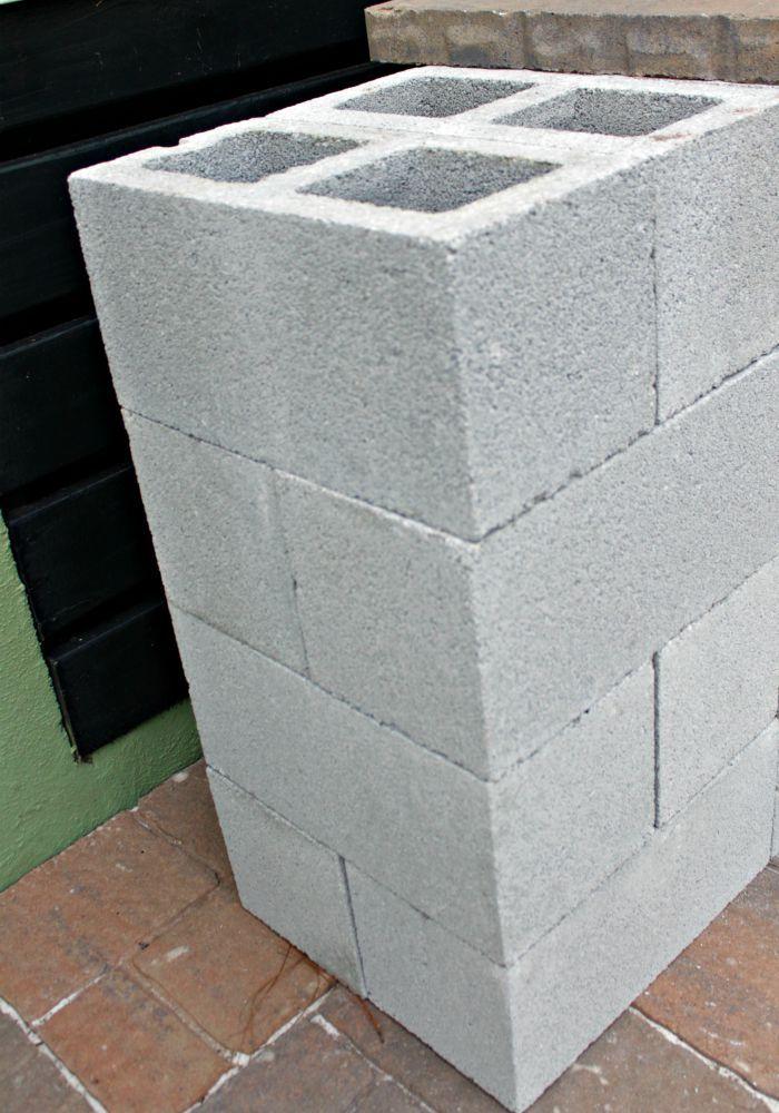 diy grill station with cinder blocks