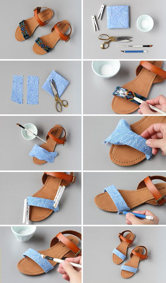 Diy sandal makeover- This would work great for a yard sale find or for those outdated shoes you just love!