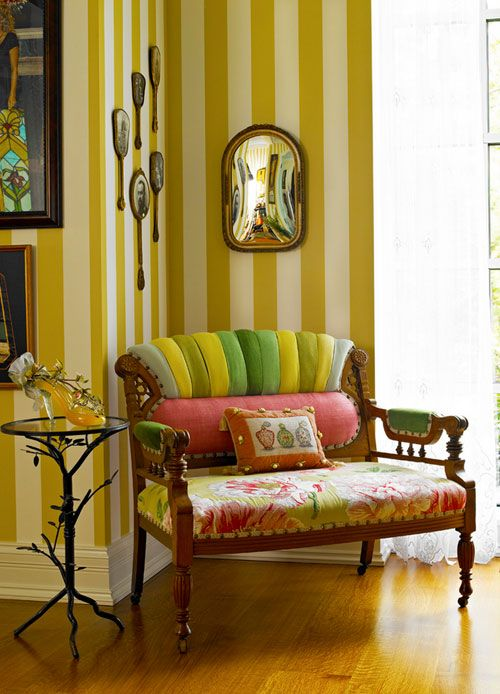 Yellow and white striped wallpaper (Michel Arnaud via desire to inspire)