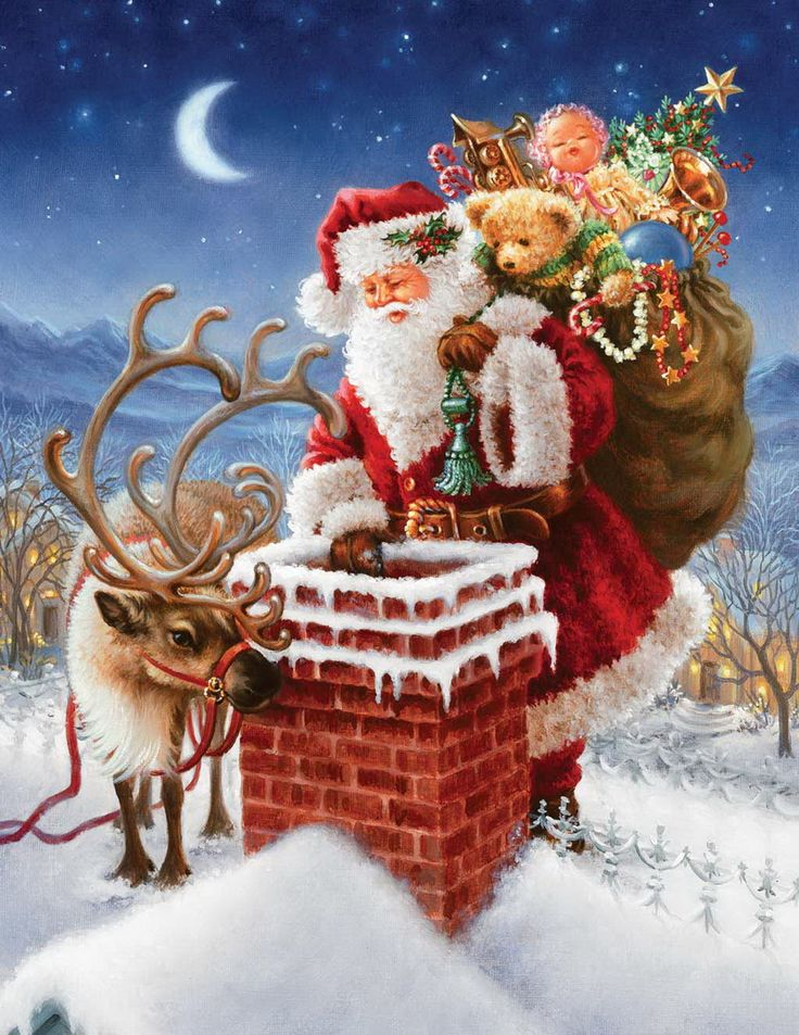 santa claus in chimney by Dona Gelsinger
