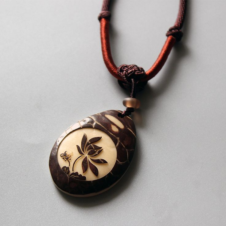 check discount wholesale chinese traditional necklace with handcarved tagua nut lotus flower pendant #wholesale #flowers