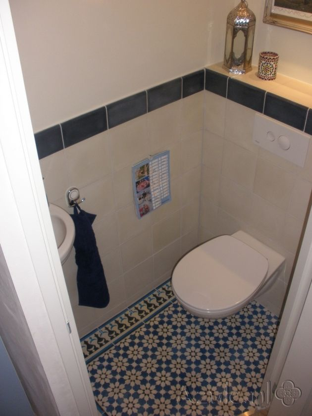 Cementtiles Toilet - Azule 11 - Azule 01 maroc Border - Project van Designtegels.nl
