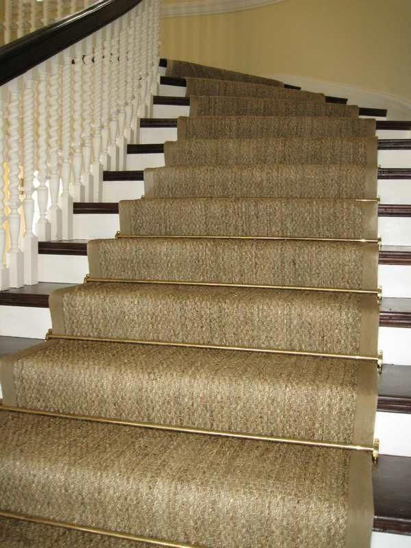 Custom Curved Seagrass Stair Runner Antique Brass Rods | Custom Stair Runners Near Me | Staircase Remodel | Animal Print | Rugs | Basement Stairs | Stair Treads