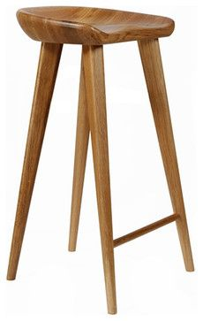 Tractor Contemporary Carved Wood Bar Stool, Walnut midcentury-bar-stools-and-counter-stools