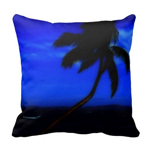Blue and Black Palm Tree Photo Pillow
