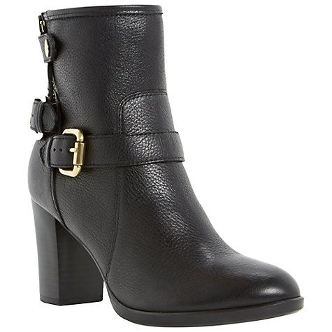 Buy Dune Pyramidd Leather Block Heeled Buckle Trim Ankle Boots Online at johnlewis.com