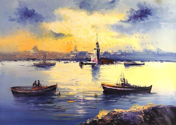 Kız kulesi kayıklar ve eski istanbul tablo - ist 7763