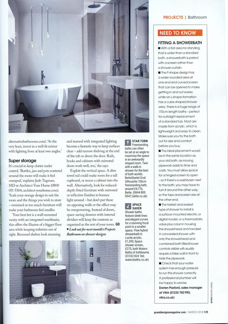 'Combine overhead lights with lighting focused on key features' suggests Jane Gilchriest, director at Alternative Bathrooms. alternativebathrooms.com Grand Designs March 2018