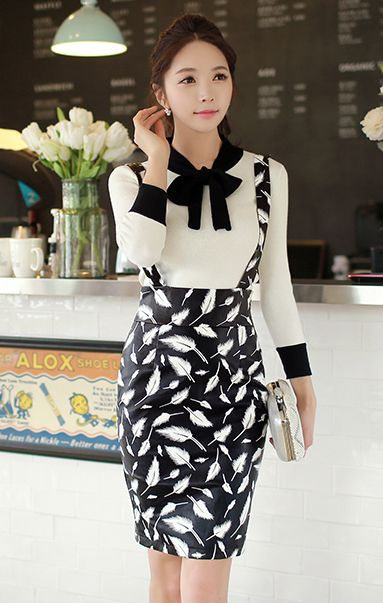 White Color Matching Contrast Color Bowknot Receives Long Sleeve Tops - ShopGalaxie