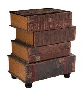 Τραπεζάκι/ Κομοδίνο Ξύλινο/PU Βιβλία 48x32x56cm
