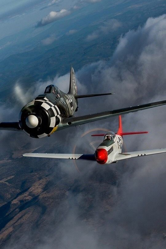 Beautiful Warbirds Red Tail chase, Tuskegee air man chasing a FW-190