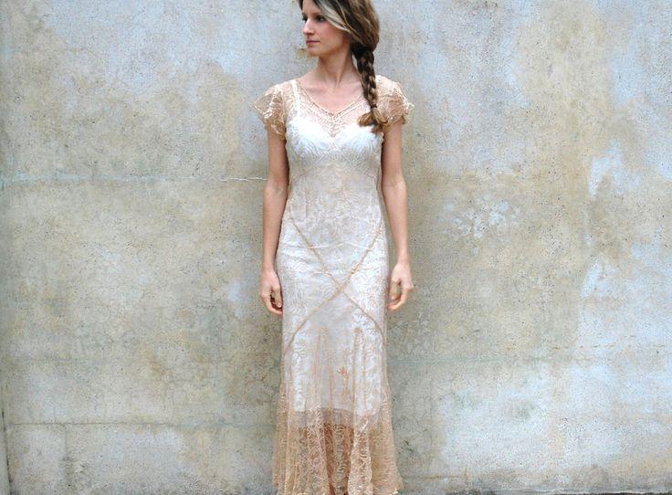 1930s silk lace wedding dress / jacket- 30s champagne sheer bias cut floor length dress- small/medium. $675.00, via Etsy.