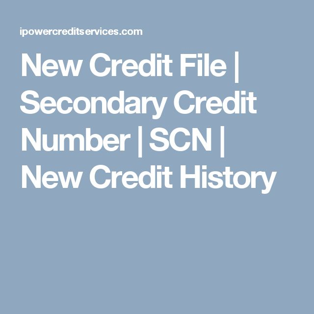 New Credit File | Secondary Credit Number | SCN |  New Credit History