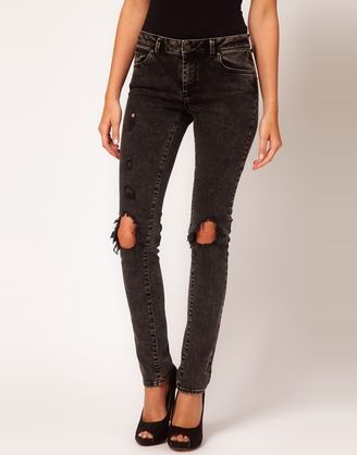 Skinny Jeans in Black Acid Wash with Rip Details #4 av ASOS | Jeans | Smala | Apprl - Social Shopping
