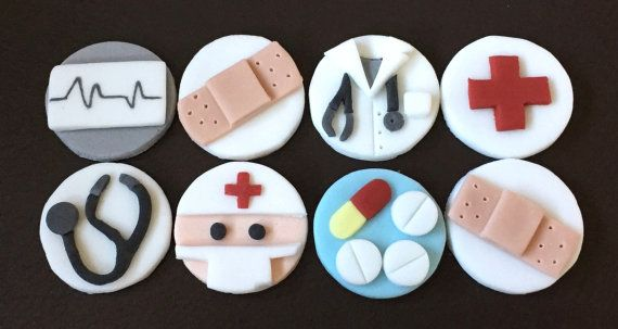12 x edible icing Medical School Doctor themed cupcake toppers cake decorations on Etsy by ACupfulofCake