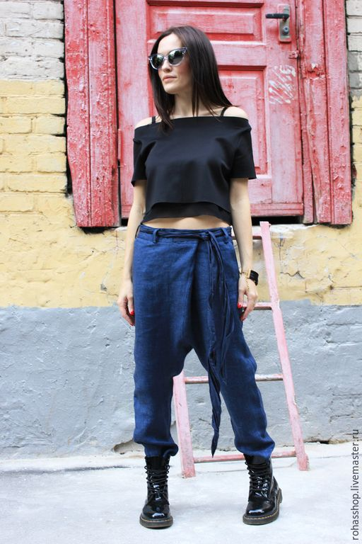 Купить Брюки из льна LOFT - Ультрамарин, брюки из льна, льняная одежда, льняные брюки