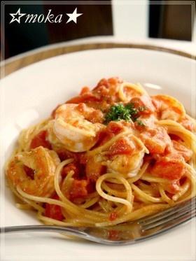 Tomato Cream Pasta with Shrimp カフェランチ✿エビのトマトクリームパスタ