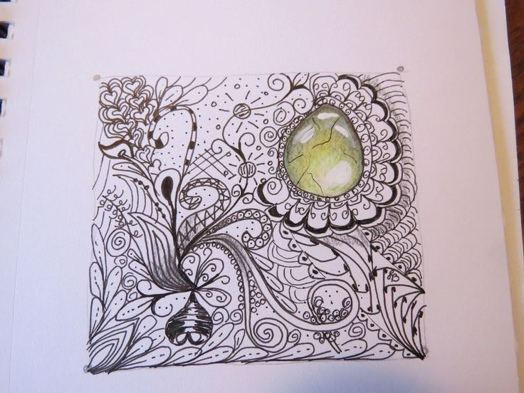 Experimenting with Zentangle Patterns and colored pencil gems