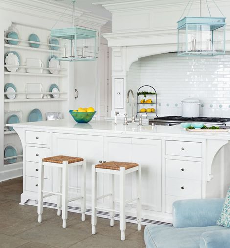 "Lots of white with touches of aqua! Cabinetry: cjsmillwork.com; Wall/ cabinetry paint (""All White"" #2005): Farrow  Ball, Hardware: Canaan Distributors. Hanging lanterns: ""Chisholm Hall,"" Michael Amato)."