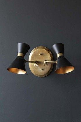 Grace Black & Gold Double Wall Light