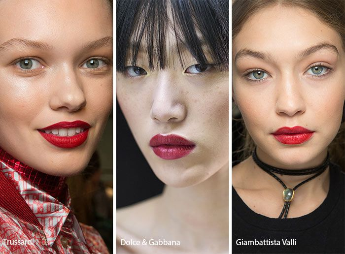 Spring/ Summer 2017 Makeup Trends: Red Lips with a sheen and subtle everywhere else.