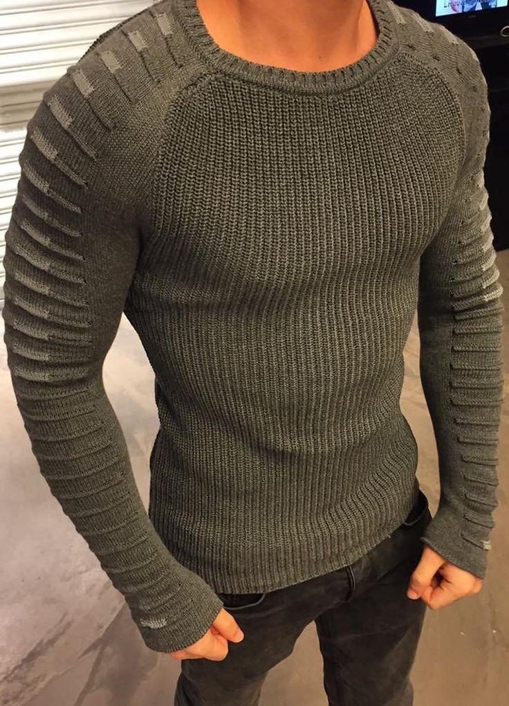Modagen.com | Erkek Giyim, Erkeklere Özel Alışveriş Sitesi ~ Gri Kol Detayli Erkek Kazak