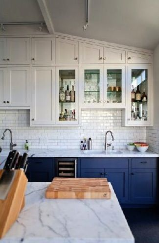 Blue base, white top cabinets. For brass fixtures, do blue base, calacatta marble, cream top cabinets.