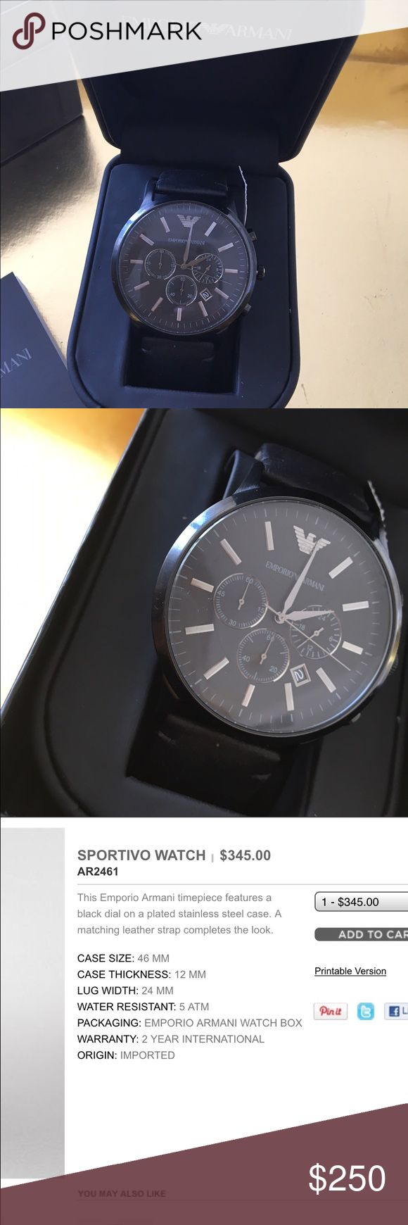 NWT Emporio Armani Watch Originally paid $345. Still on the designer's website for this price. NWT. Great gift for dad,boyfriend, or husband❤️ Emporio Armani Accessories Watches