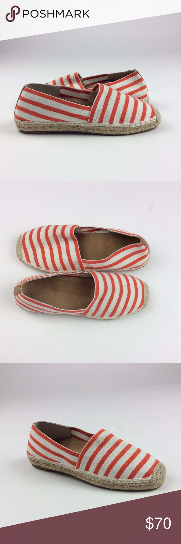 Vionic  Women's Coral Striped Stretch Gore upper The Vionic Coast Valeri espadrille flat features a jute-wrapped base and a stretch textile upper in summer-ready coral stripes. Your new go-to style for warm weather now has all the support you know and love from Vionic. Coral Striped Stretch Gore uppers. Genuine jute-wrapped base. Removable Microfiber Wrapped EVA footbed. Biomechanically designed to hug your arches Orthaheel Technology helps support natural alignment from the ground up. TR…