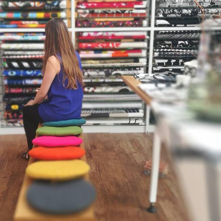 Tush Cush's available in store. #wool #felt #cushion #colour