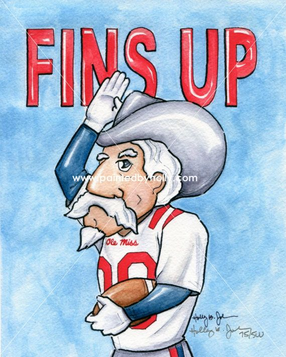 Ole Miss Rebels Football Colonel Col. Reb FINS UP Art Print Artwork