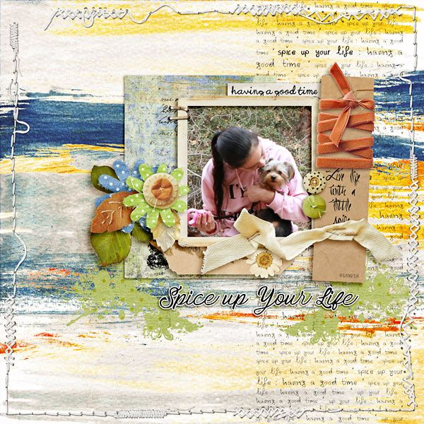 digital layout made by Flor using Spice your life by Dawn Inskip