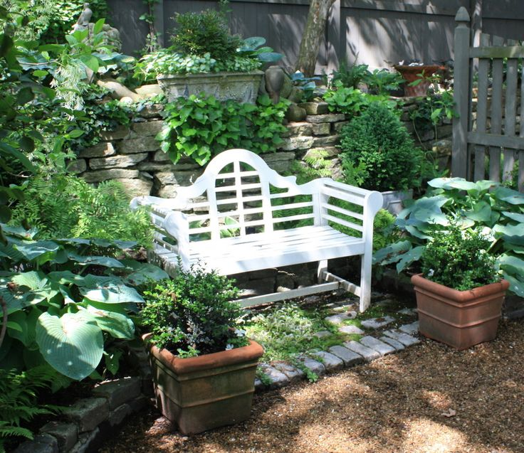 White bench surrounded by lush greens.