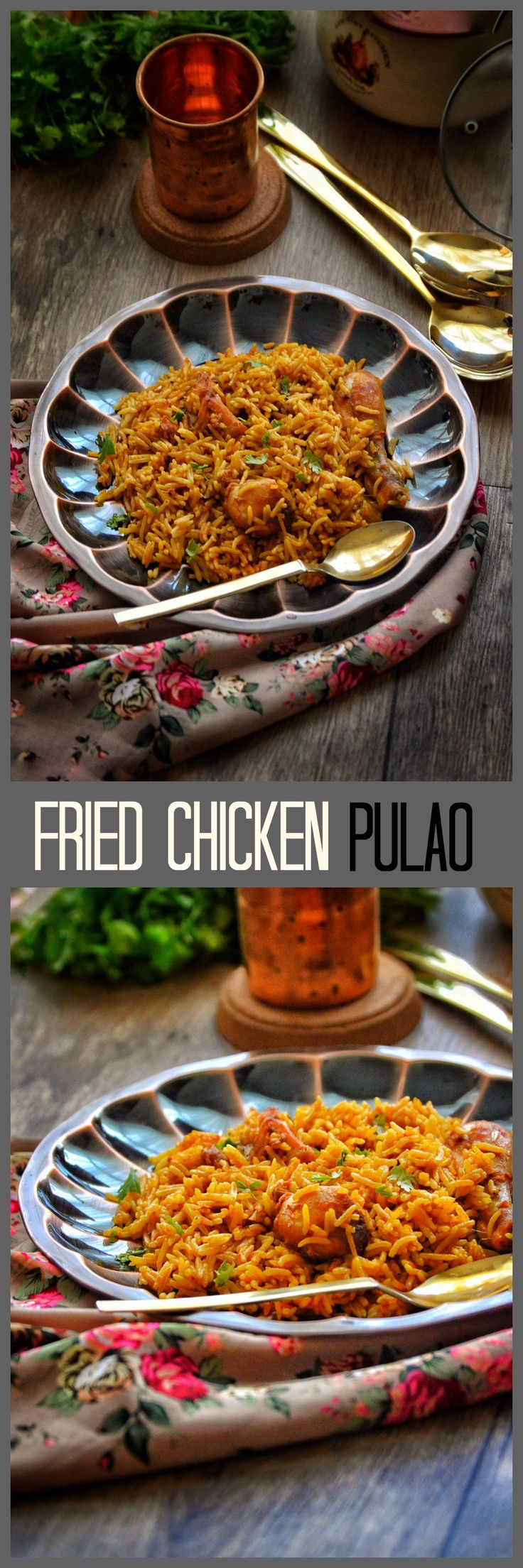 Fried chicken pulao is a one pan chicken and rice dish with amazing Indian flavors.