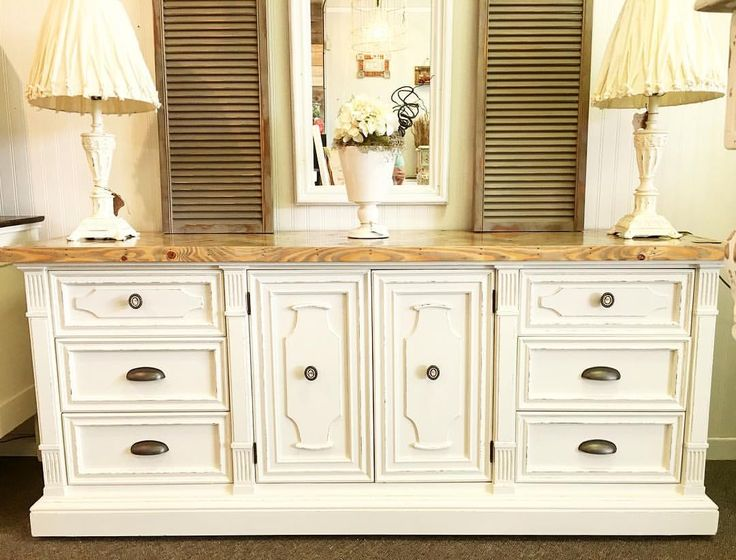 """36 Likes, 9 Comments - The Squeaky Door (@thesqueakydoor) on Instagram: """"Sold. Here she is!! Creamy white Drexel with a custom herringbone top with all new updated knobs!…"""""""