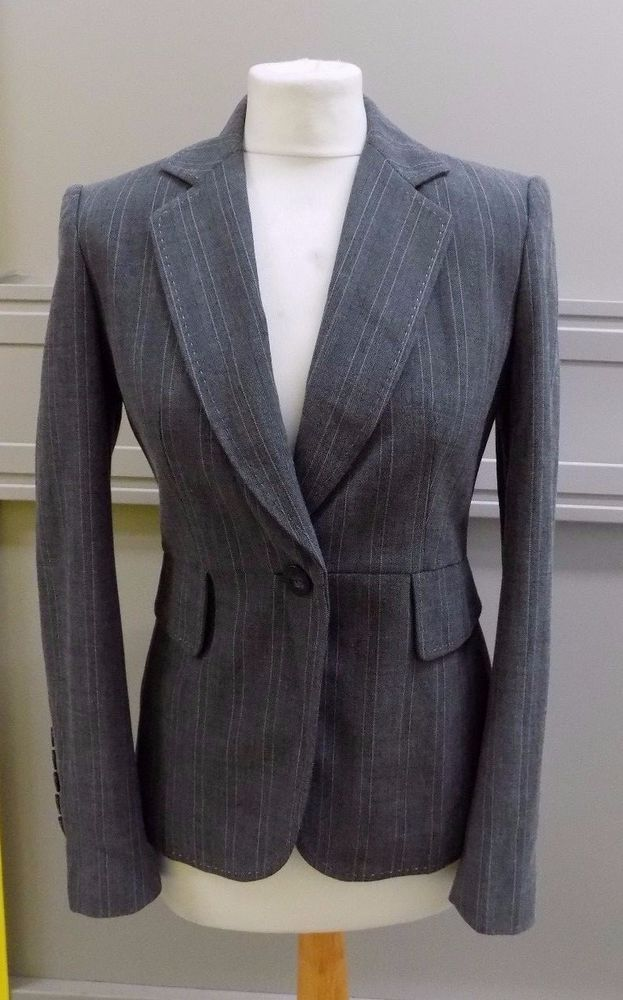 Marks & Spencer Ladies Grey Fitted Blazer Jacket size 8