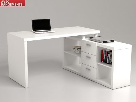 bureau d 39 angle avec rangements aldric blanc id e d. Black Bedroom Furniture Sets. Home Design Ideas