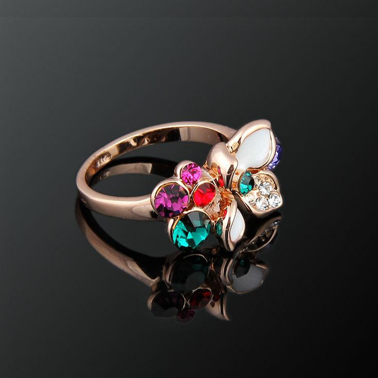 Çiğdem Yüzük - Avusturya kristali - Swarovski taşlar - Altın kaplama - Aksesuar - Yüzük - Dalya Takı Austrian Crystal - Swarovski stones - Gold plated - Rose gold - Accessory - Ring - Green - Crocus