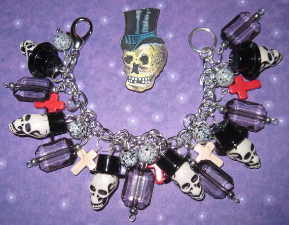 Skull Charm Bracelet Mr. Bones Top Hat & Crosses Punk by Jynxx