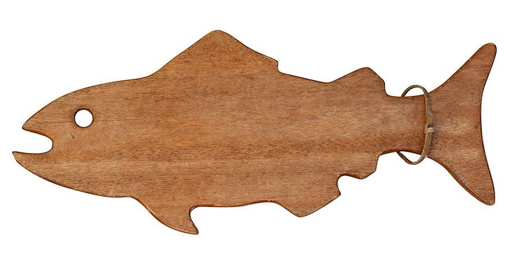 Wood fish-shaped cutting board with leather cord for hanging. No maker's mark.