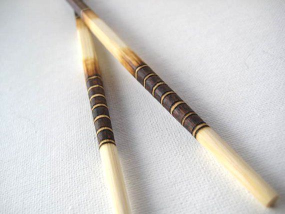 Men's Bamboo Chopsticks -Elegant Brown Shades pyrography -PERSONALIZABLE Fifth Anniversary