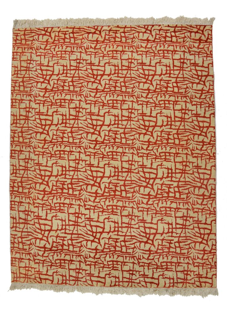 8x10 Red & Brown Modern Area Rug
