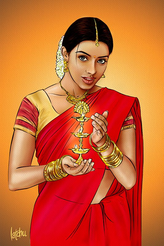 Indian Lady in Red Blouse - WetCanvas