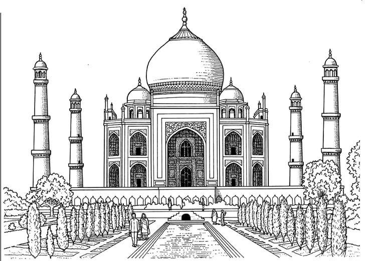 Taj Mahal Line Art Colouring Pages Taj Mahal Drawing For Kidstaj