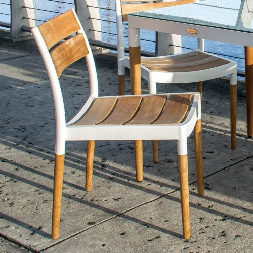 Powder coated aluminum and teak stacking sidechair - Westminster Teak Outdoor Furniture