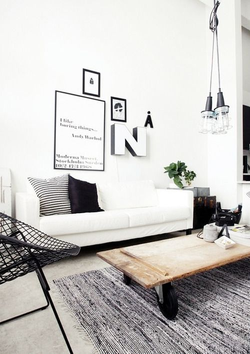 black // white // living room