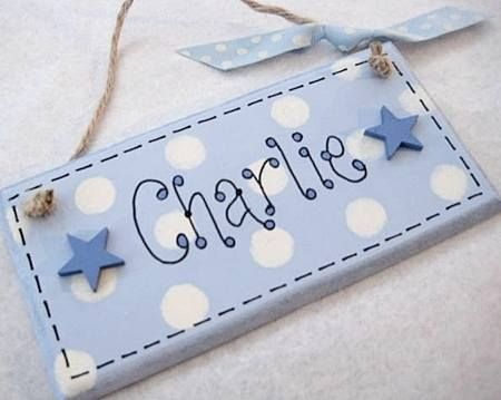 Personalised Name Plaque - blue/ white spots